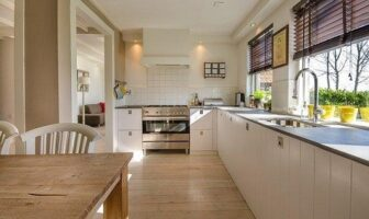 A view of decluttered countertops and organized living space.