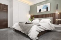 bedroom with wooded headboard