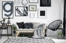 scandinavian living room with wall arts